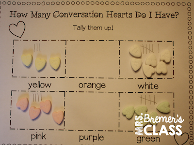 Valentine's Day math activities using Conversation Hearts- lots of Kindergarten and First Grade skills covered!