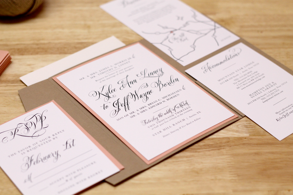 Custom Made Wedding Invitations: Kxo Design: Rustic Peach Wedding Invitation With Kraft