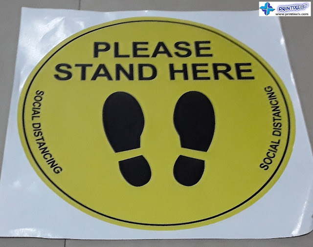Please Stand Here Social Distancing Sticker
