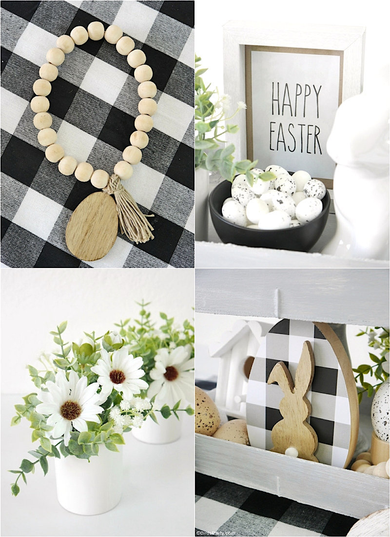 DIY Modern Farmhouse Easter Décor - easy craft projects to decorate a tiered tray, tablescape or mantel for your home this spring! by BirdsParty.com @birdsparty #diy #farmhouse #freeprintables #easterdecor #farmhouse easter #tieredtray #diydecor #homedecor