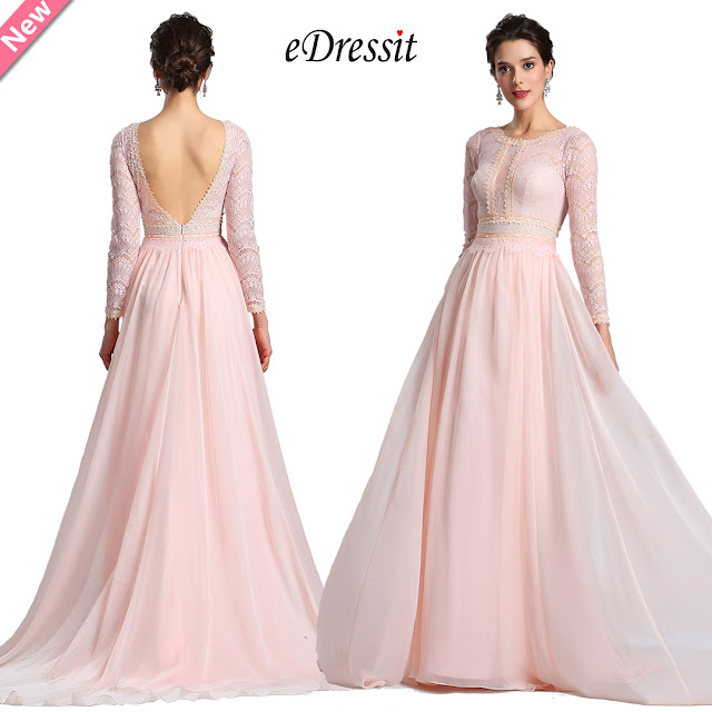 Pink Lace Long Sleeves Prom Evening Dress