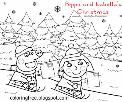 Girl Isabella cartoon drawing preschool coloring Peppa pig printable activities for Christmas season
