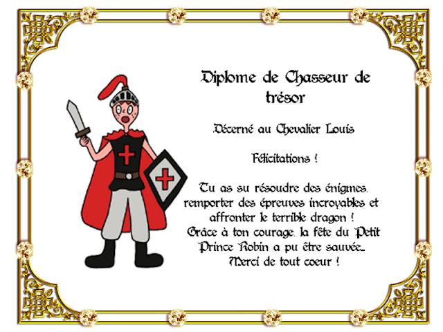 diplome chasse au trésor chevalier dragon chateau pinata gratuit rapide tutoriel