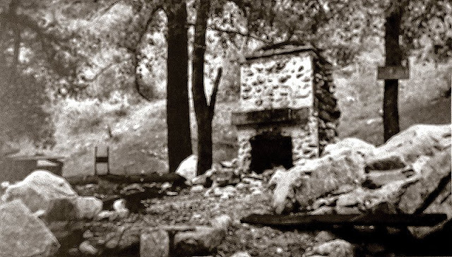 Photo of miner's cabin ruins taken in 1958 by L.T. Gotchy. This was one quarter mile below Dawn Mine.