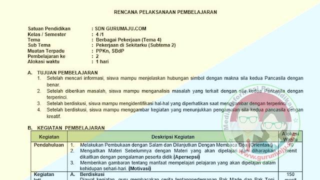 RPP 1 Lembar Kelas 4 Semester 1 Tema 4 Revisi 2021