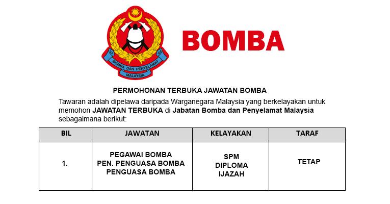 permohonan terbuka jawatan kosong bomba