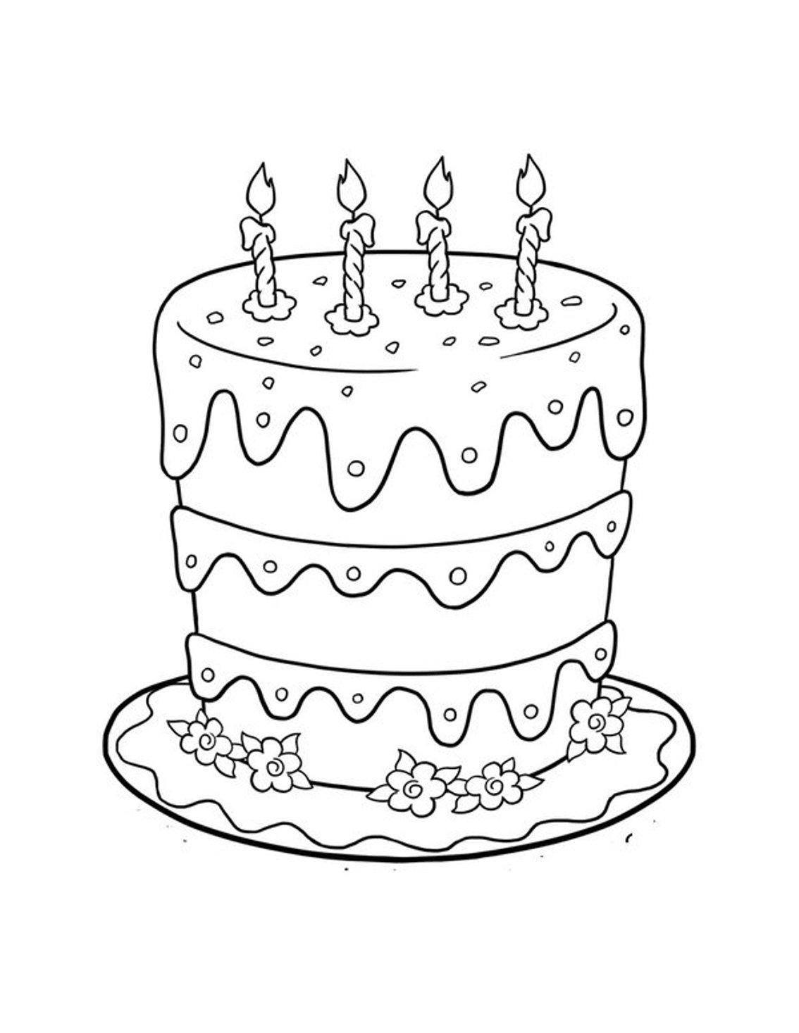 Mewarnai Kue Ulang Tahun : mewarnai, ulang, tahun, Gambar, Mewarnai, Ulang, Tahun, Untuk