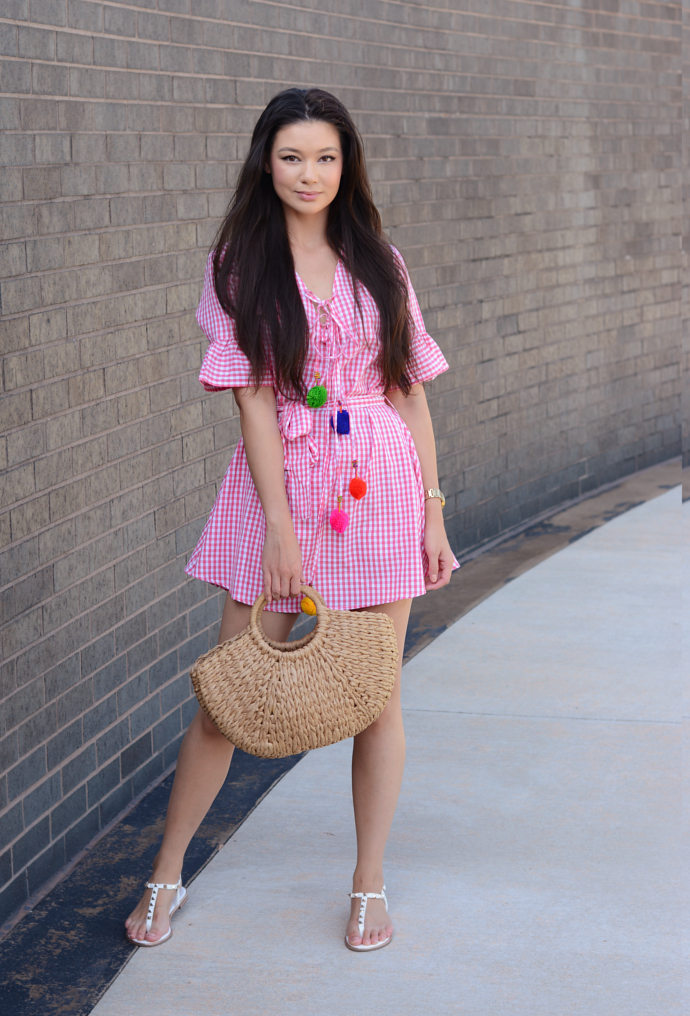 Pink Gingham Print Pom Pom Trim Smock Dress, Pom Pom, Gingham, Prettylittlething, Shein, Straw Bag