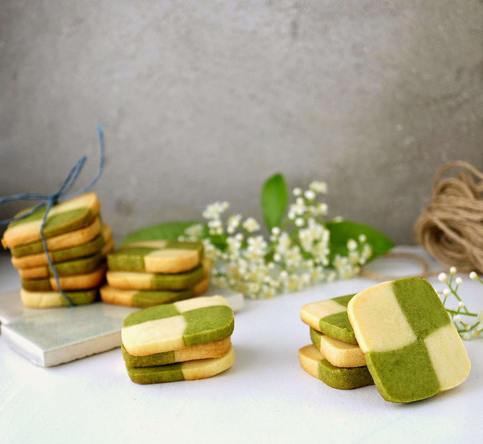 Miss Hangrypants Matcha Checkerboard Shortbread Cookies