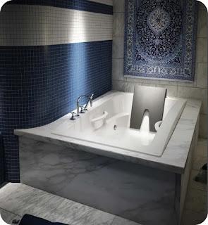 Chromatherapy bathtub with specialized lighting.
