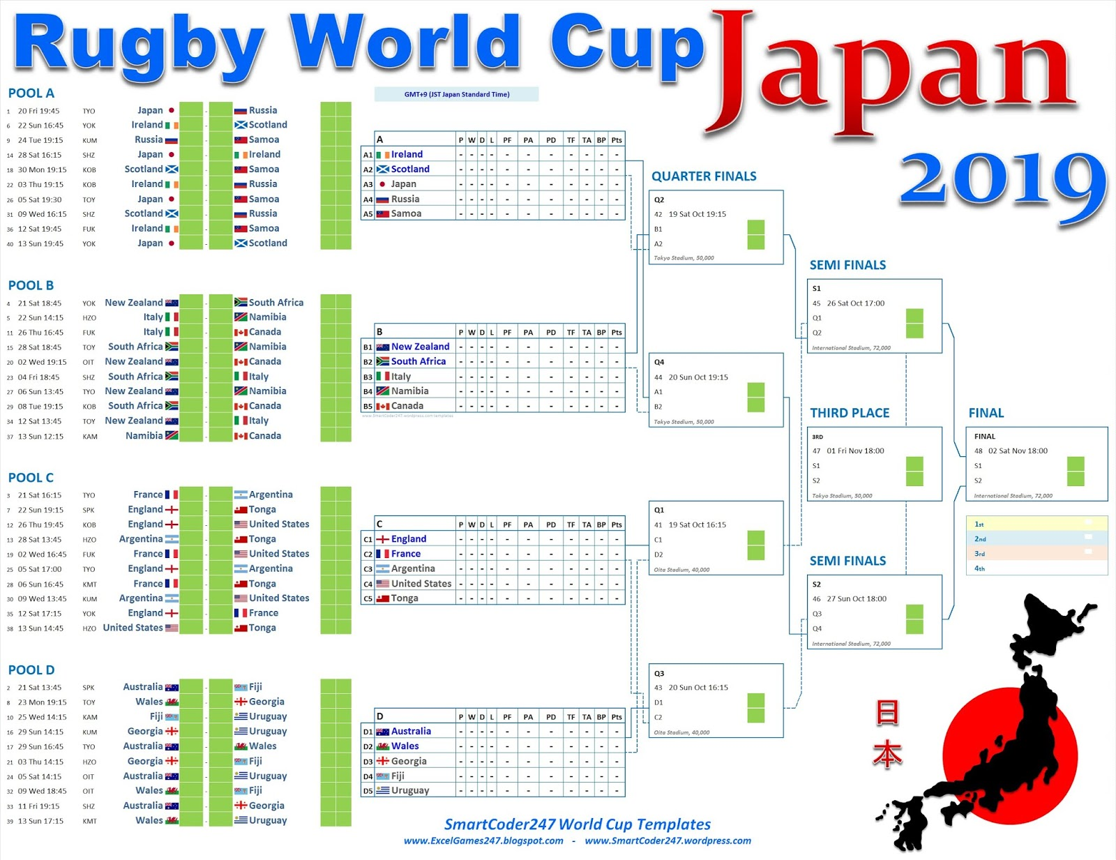 image relating to World Cup Printable Schedule referred to as Smartcoder 247 - Japan 2019 Rugby Globe Cup Wall Charts and