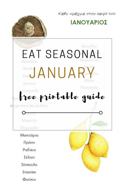 Seasonal Eating: Free printable January fruit and vegetable guide