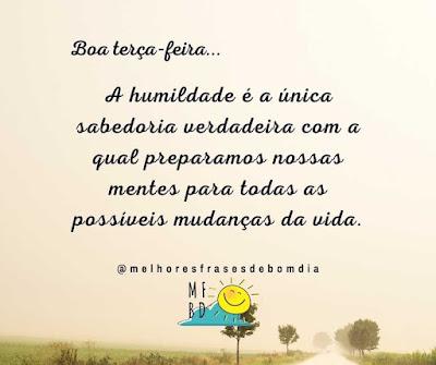 Frases de Terça feira A humildade é a única sabedoria verdadeira