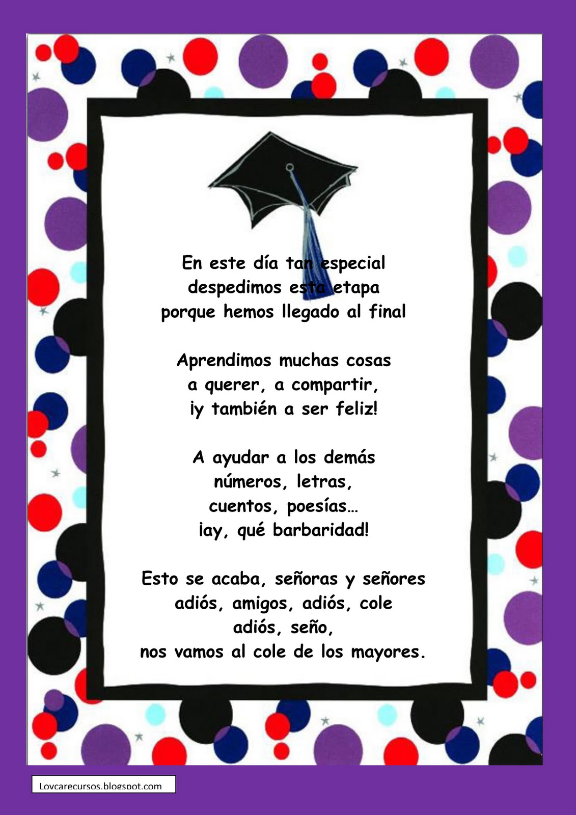 Trabajando en Educación Infantil: 10 poesías para la graduación