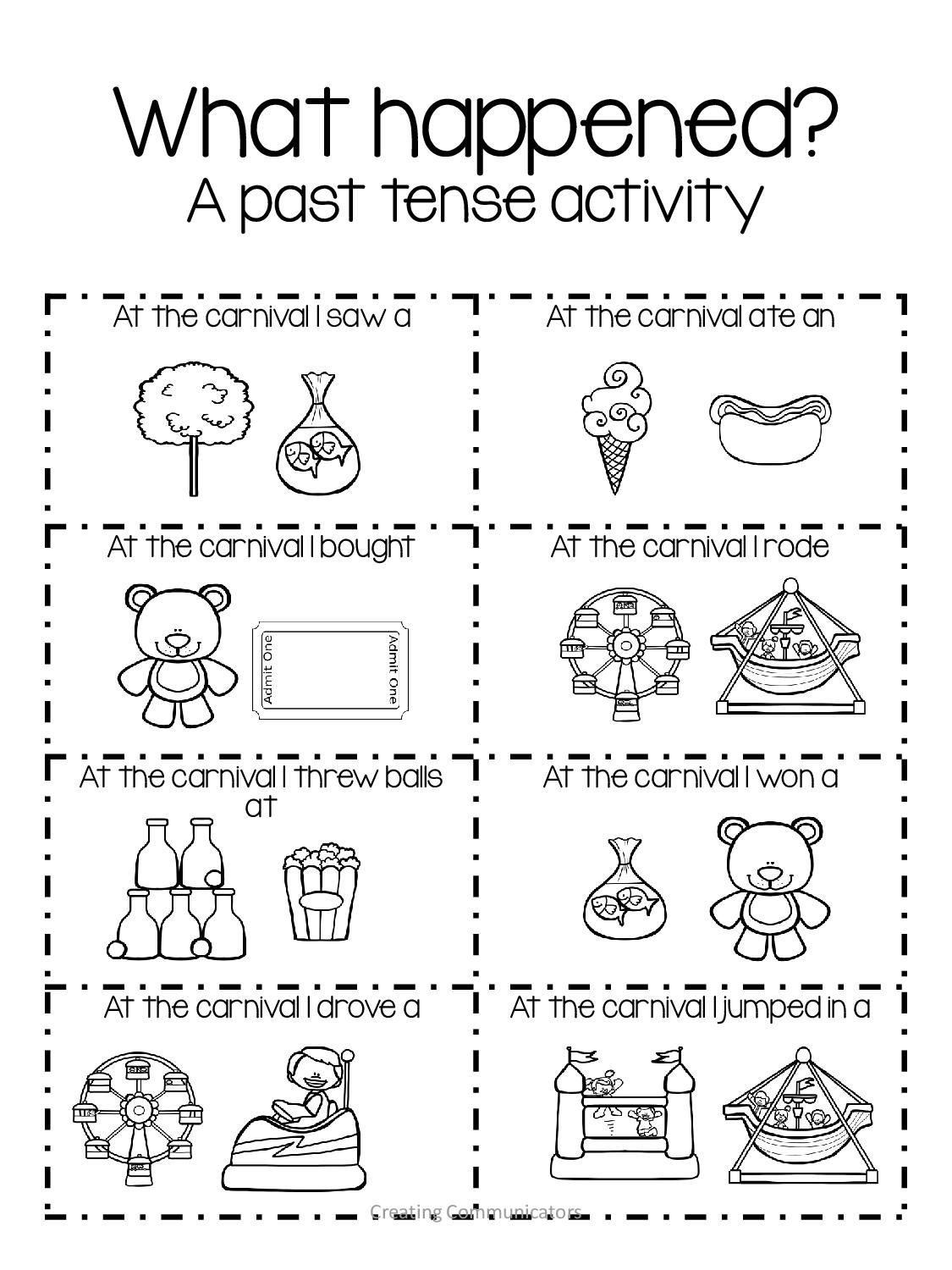 Carnival Language Activities on Pronoun Worksheets For Kids