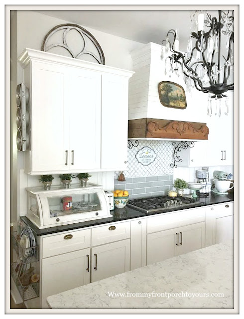 Farmhouse Cottage Kitchen-DIY-Backsplash-Bakery Box-Black Silestone-From My Front Porch To Yours