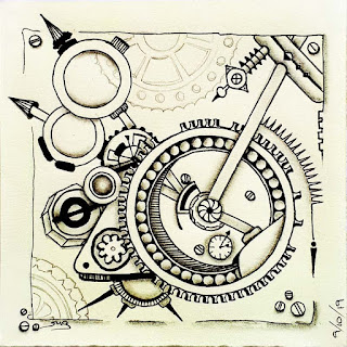 Hump day challenge #11 steampunk made with unnamed tangles