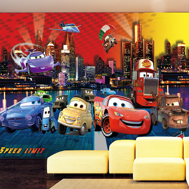 Disney Cars Wall Mural 3D Wallpaper Sticker Cars planes Brick Wall breaking through wall children room kids bedroom Airplane