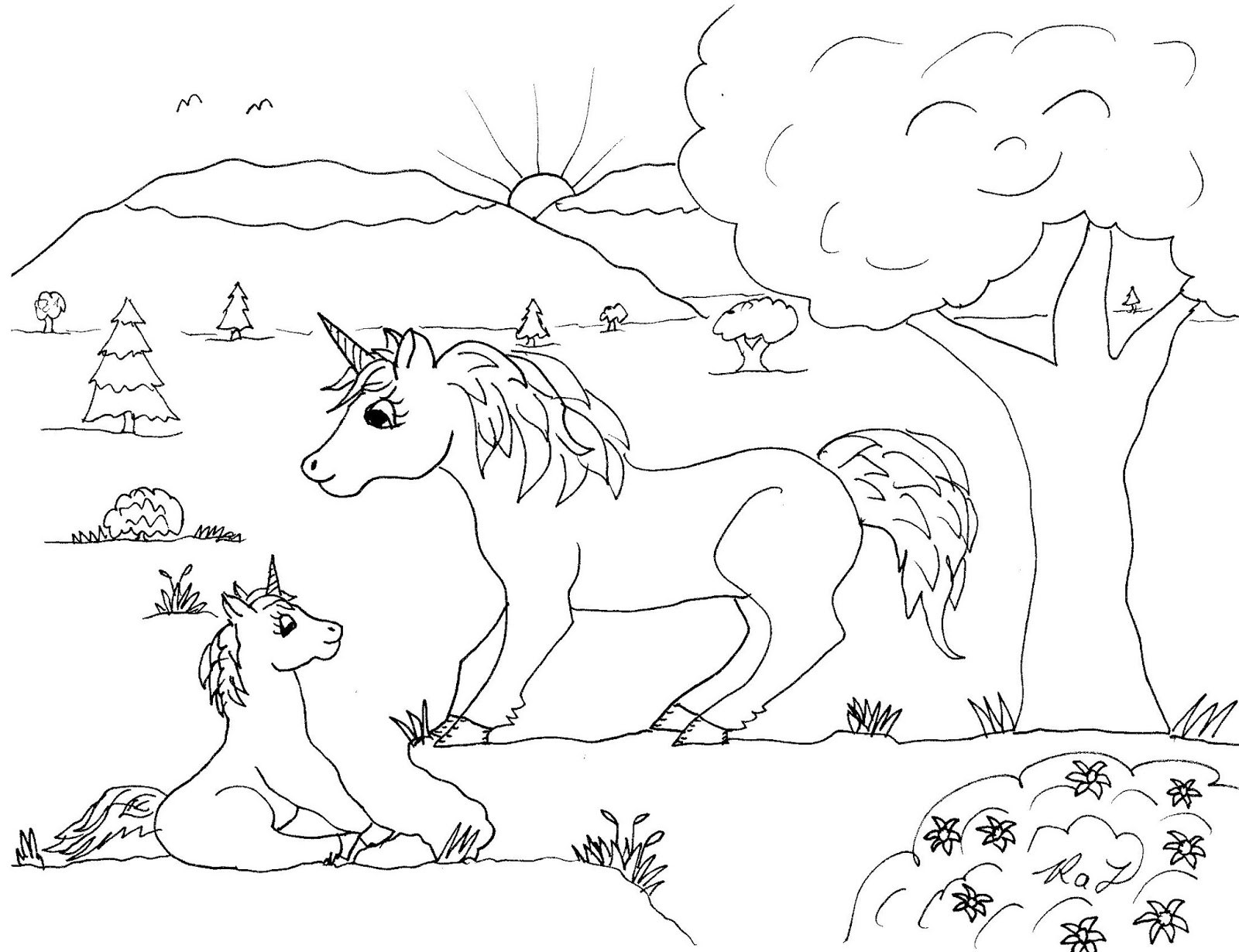 Robin S Great Coloring Pages Two More Unicorn Drawings