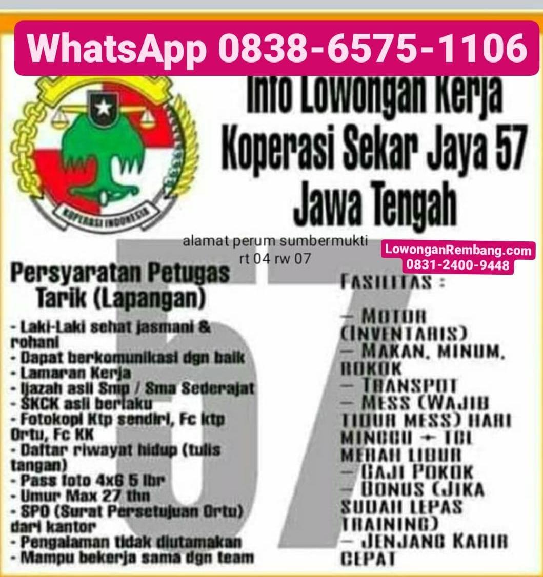 Lowongan Kerja Petugas Tarik Lapangan Koperasi Sekar Jaya 57 Sumberjo Rembang