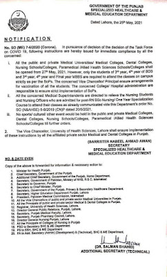reopening of medical colleges and universities dental colleges nursing colleges and schools paramedical and allied health sciences colleges and schools