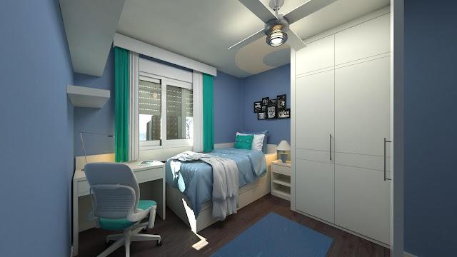 غرفة النوم باللون الازرق