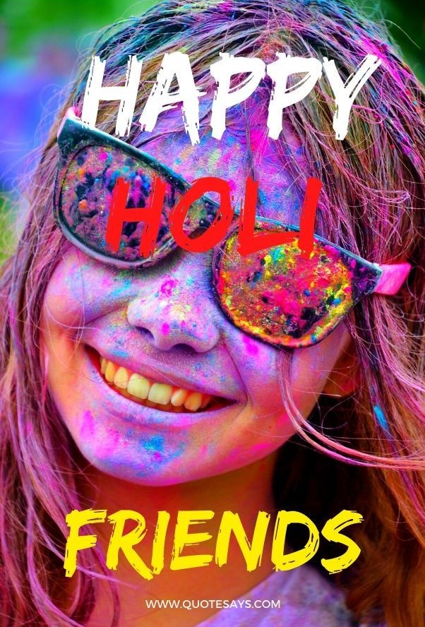 Happy Holi Colorful Girl with Wearing Glasses