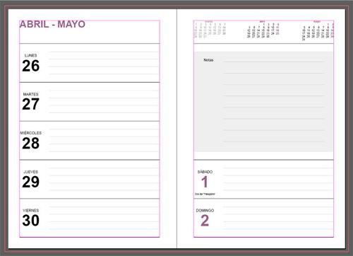 interior de la gran Agenda editable semanal 2021 para imprimir gratis
