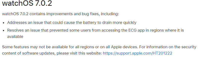 watchOS 7.0.2 Features Changelog