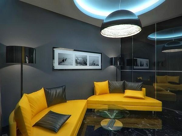 sala decorada con amarillo y gris