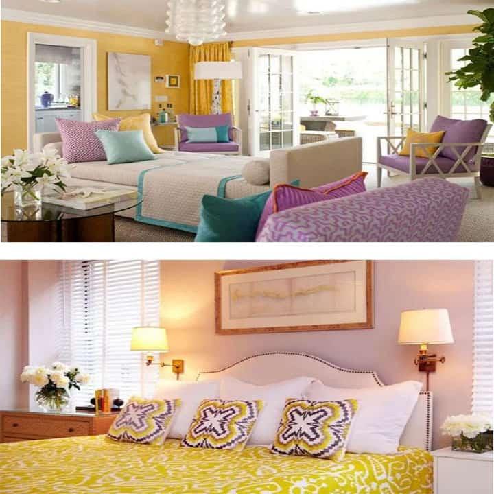 غرفة نوم باللون ليلك مع أصفر