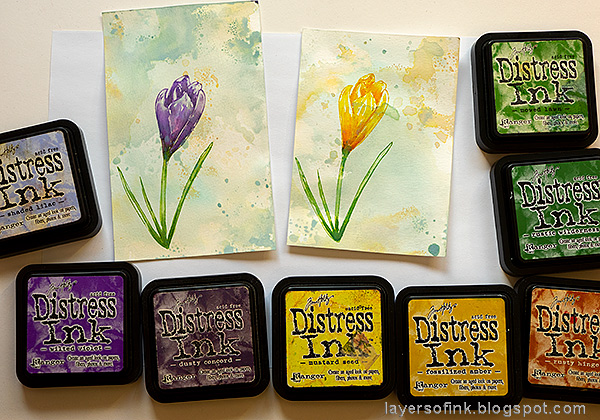 Layers of ink - Crocus in Watercolor and Pencil Tutorial by Anna-Karin Evaldsson. With Simon Says Stamp Thoughtful Flower stamp. Watercolor the flowers with Distress Ink.