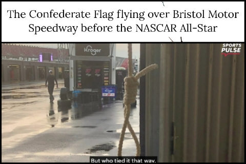 The Confederate Flag flying over Bristol Motor Speedway before the NASCAR All-Star