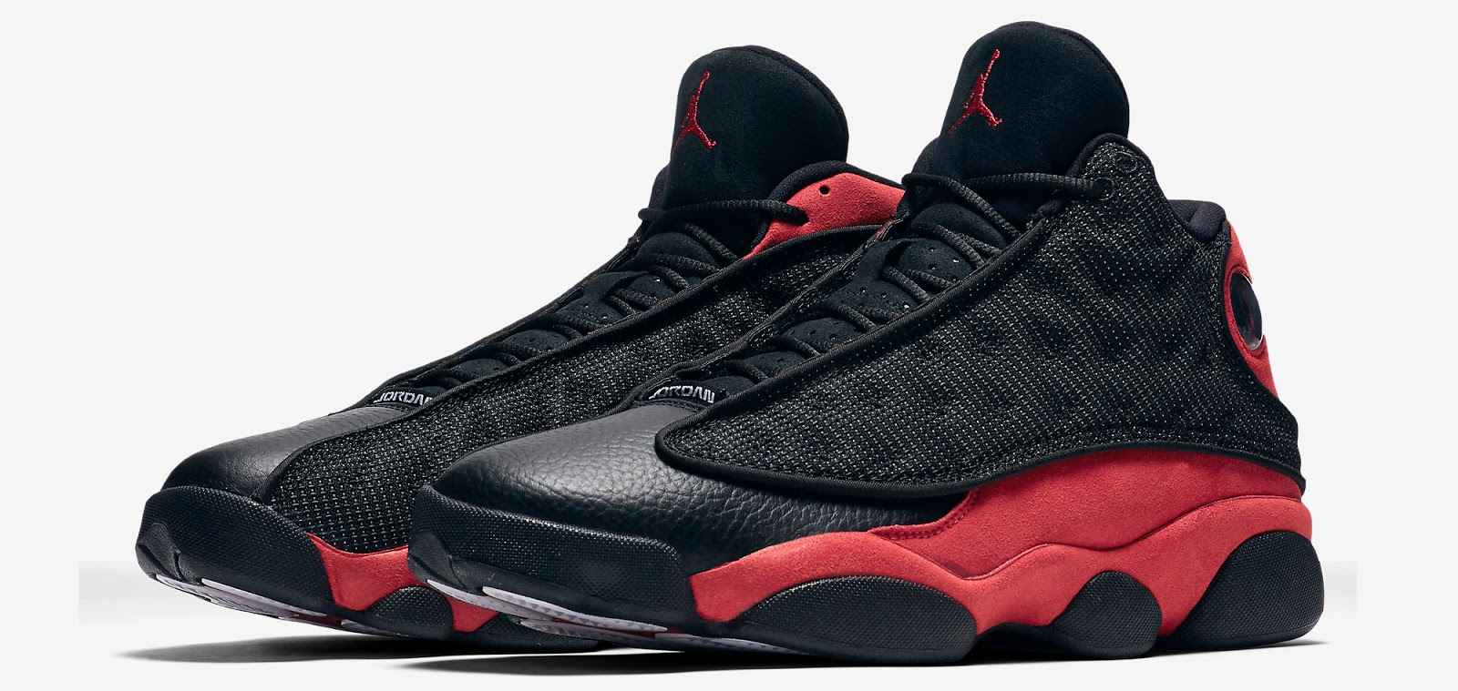 timeless design a91e4 adf26 Last seen in 2013, the original black, true red and white colorway of the  Air Jordan 13 Retro is back. Remastered, they feature a black-based leather  upper ...