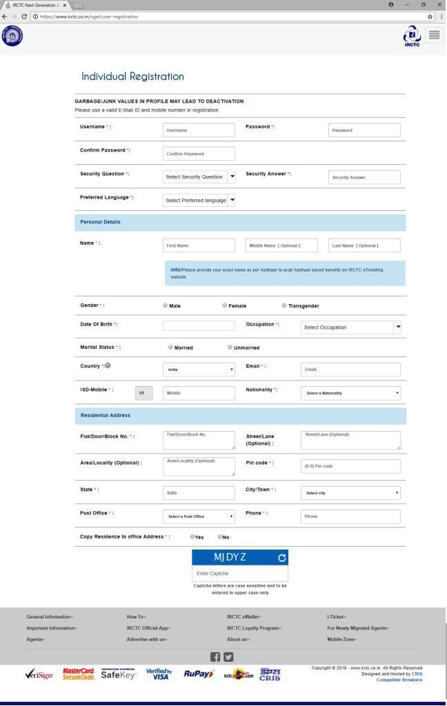Picture of new iRCTC registration form