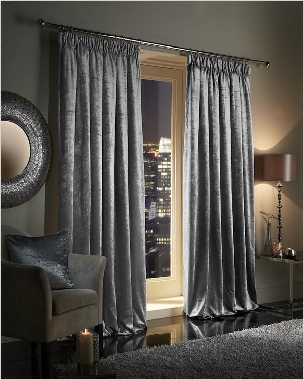 √√ Grey Crushed Velvet CURTAINS   Home Interior Exterior ...