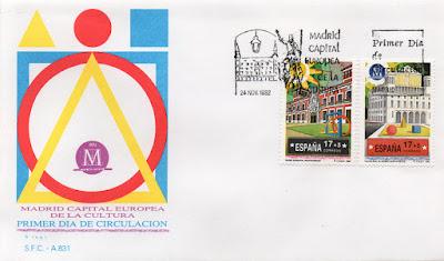 Sobre Primer Día de Circulación de los sellos dedicados al Museo Municipal y al Teatro Real de la serie Madrid, Capital Europea de la Cultura, 1992