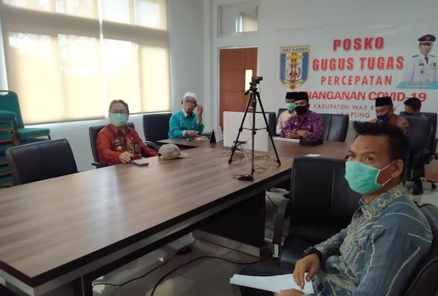 Rapat Pembahasan Subsidi OTD Haji Kabupaten Way Kanan  Tahun 2020 dilakukan Via Vicon
