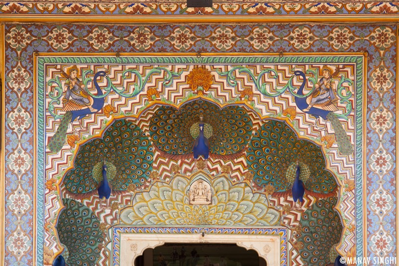 Peacock Gate (with motifs of peacocks on the doorway) representing autumn at The City Palace, Jaipur.