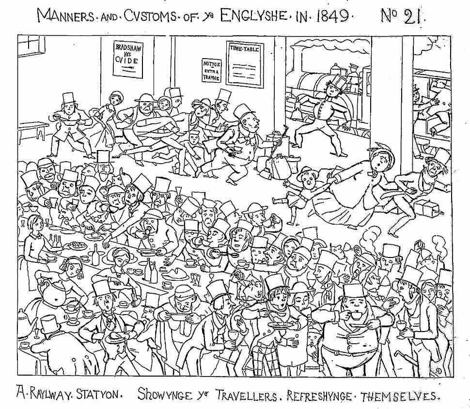 1849 England, a busy train station cartoon showing a hurried stressful lunch stop