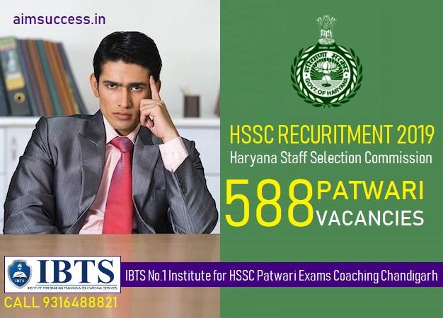 HSSC Haryana Patwari Recruitment 2019  Apply for 588 Patwari Posts