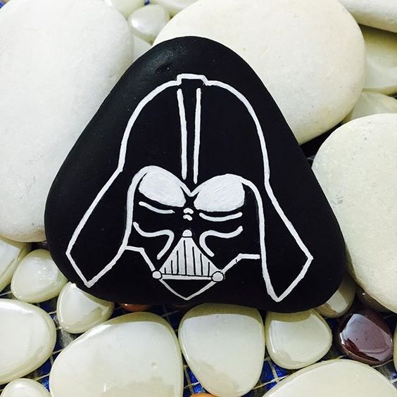 Darth Vader star wars painted rock idea