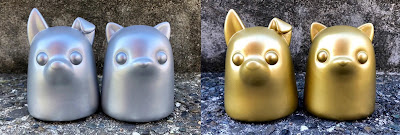 New York Comic Con 2018 Exclusive Puppy Tiny Ghost & Kitty Tiny Ghost Silver & Gold Edition Vinyl Figures by Reis O'Brien x Bimtoy x Bottleneck Gallery