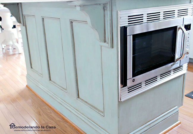microwave installed in kitchen island