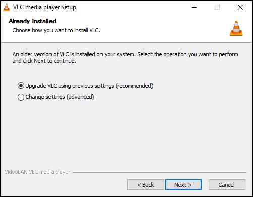 ترقية VLC بالإعدادات الحالية على Windows