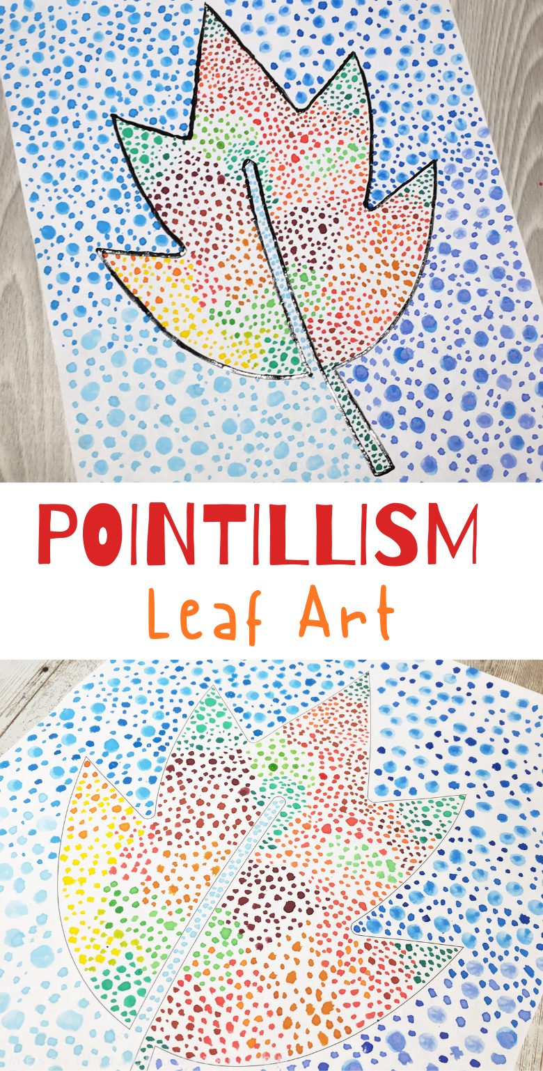 Pointillism art for kids. A fun leaf craft or leaf art project for kids to make as an autumn or fall craft.