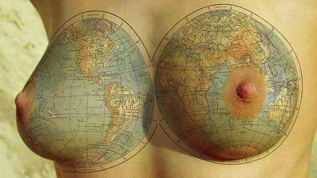 Ảnh lộ vú bản đồ trên vú