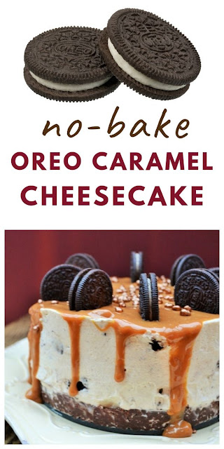 Oreo and Caramel Cheesecake - A sinful no-bake vanilla cheesecake with Oreos, caramel and golden honeycomb nugget sprinkles. A luxury dessert your family will love. #nobakecheesecake #oreocheesecake #easycheesecakerecipes #cheesecake #deepcheesecake #caramelcheesecake #fridgecake #dessert #luxurydessert