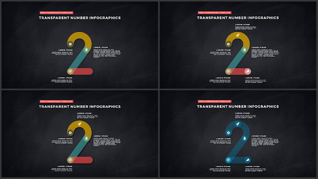 Infographic Transparent Design Elements for PowerPoint Templates in Dark background using Number 2