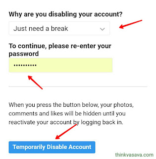 Instagram Temporarily Disable Account